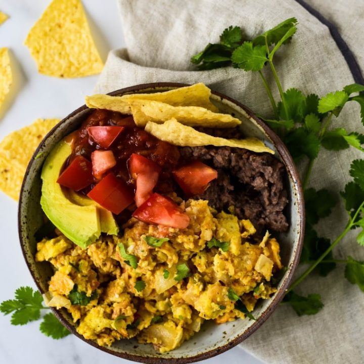 Migas Breakfast Bowl with tortilla chips