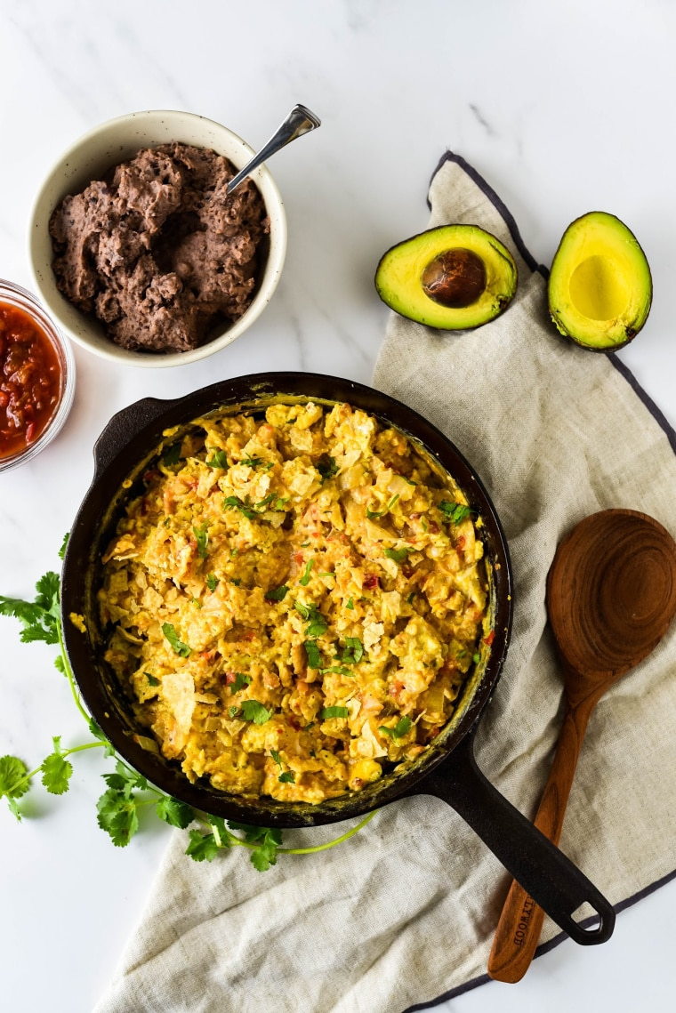 tex mex eggs in cast iron skillet