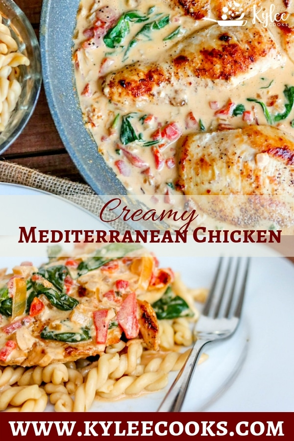 two pictures of Creamy-Mediterranean-Chicken-Skillet- with text overlay