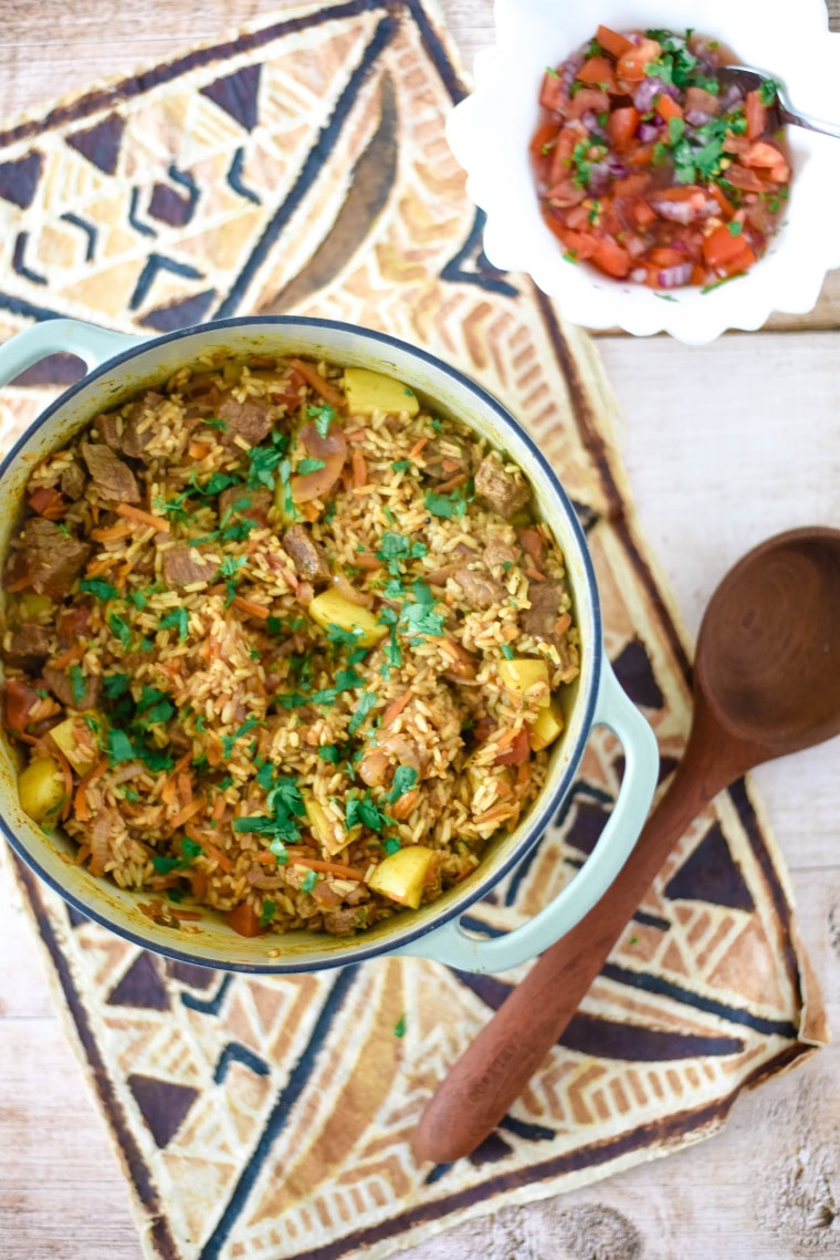 beef pilau in cast iron pan