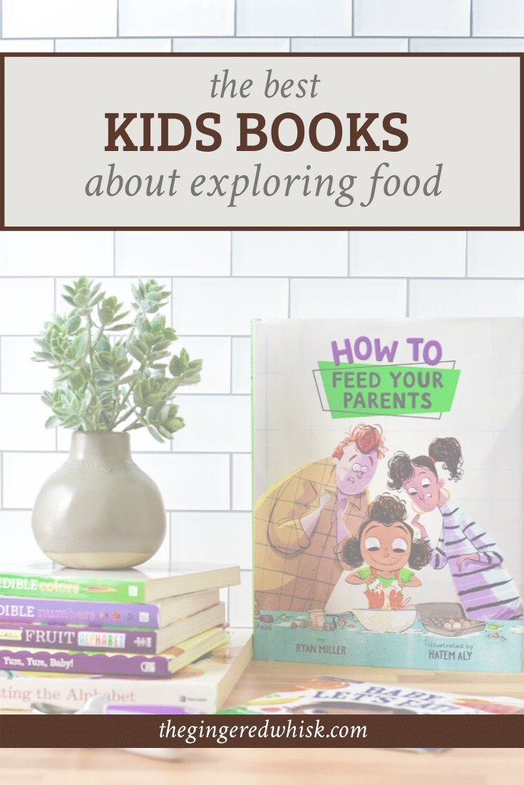image of stack of books for kids about food with text overlay reading