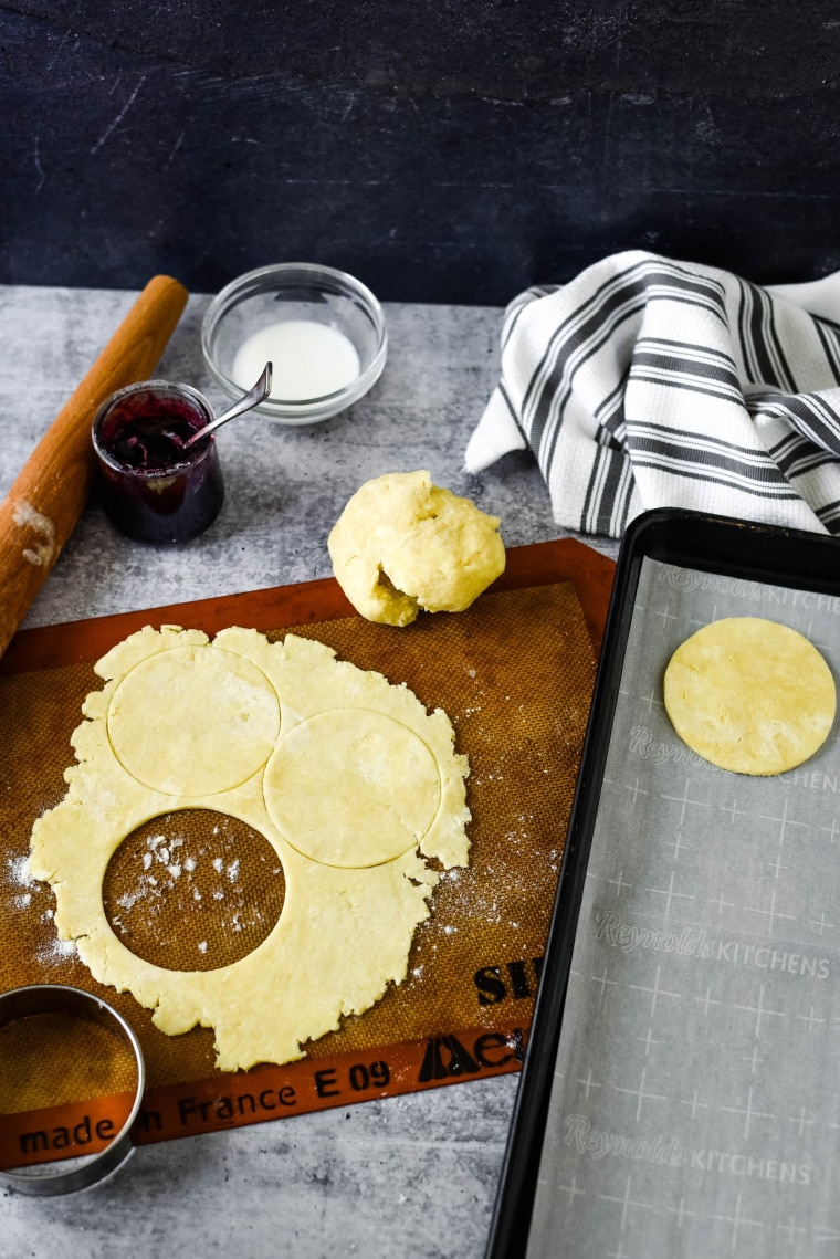 rolling and cutting hand pie dough