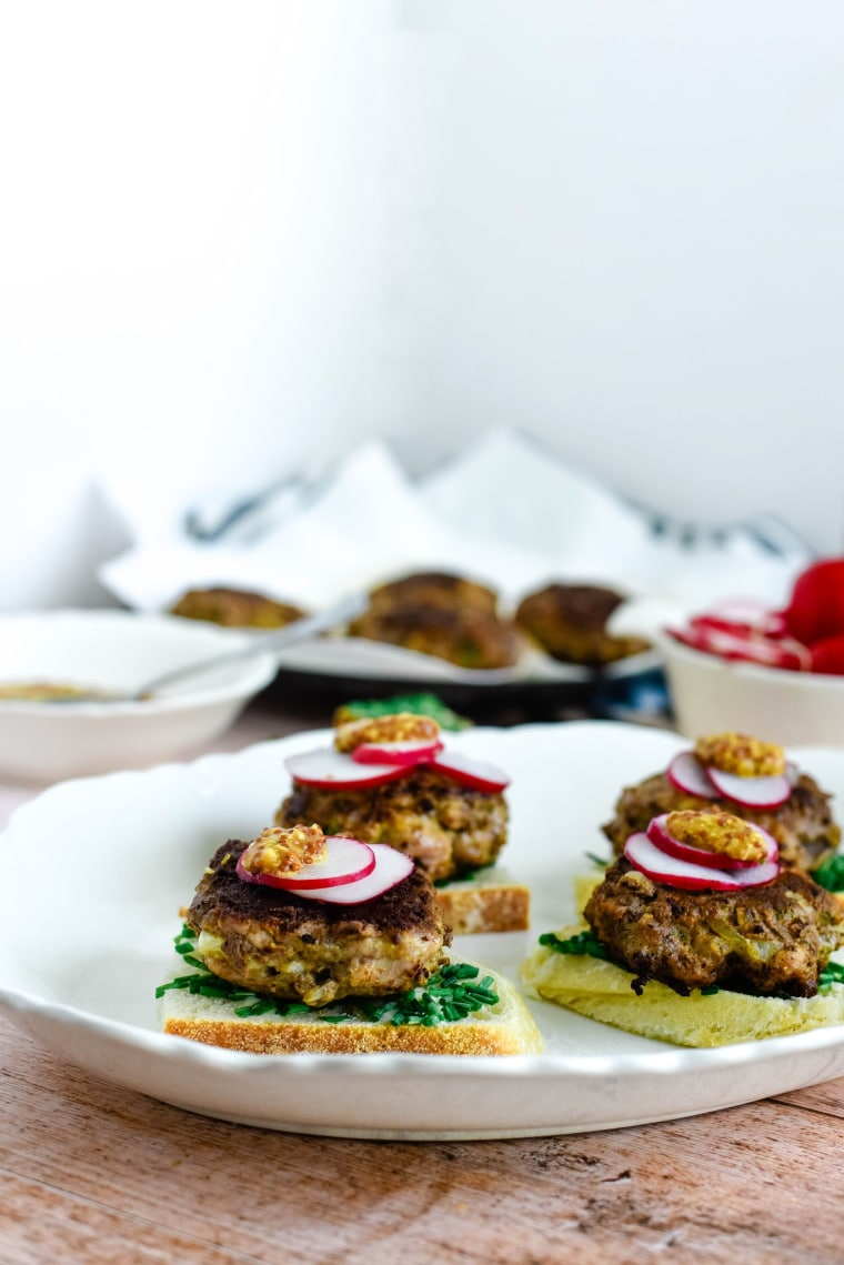 german meat patties on platter