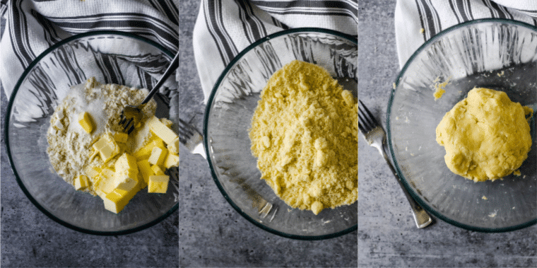 collage showing steps to make pastry dough - ingredients, mixing together,