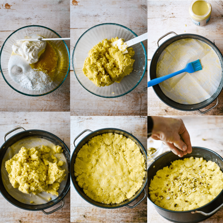 steps to make semolina cake soaked in syrup