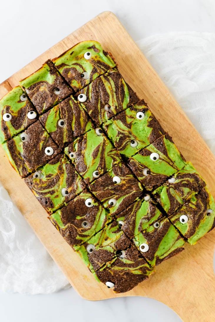 halloween brownies on wooden cutting board