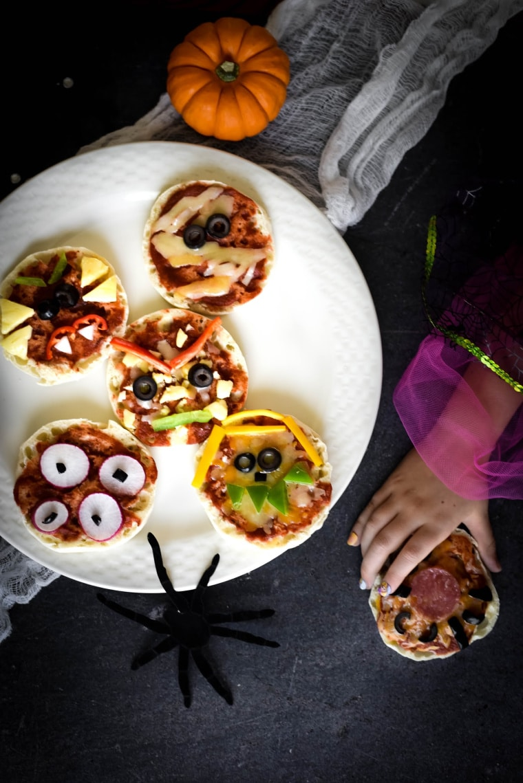 plate with mini halloween pizzas