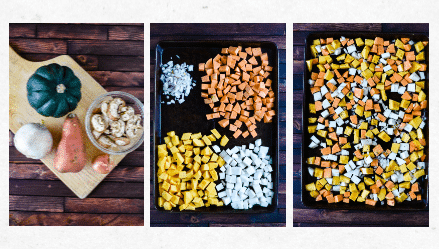collage showing how to make maple roasted vegetables
