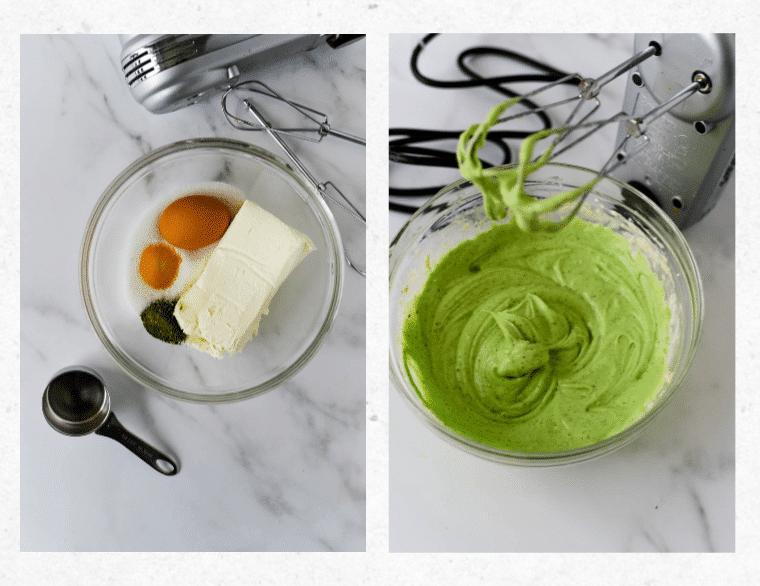 making matcha cheesecake batter