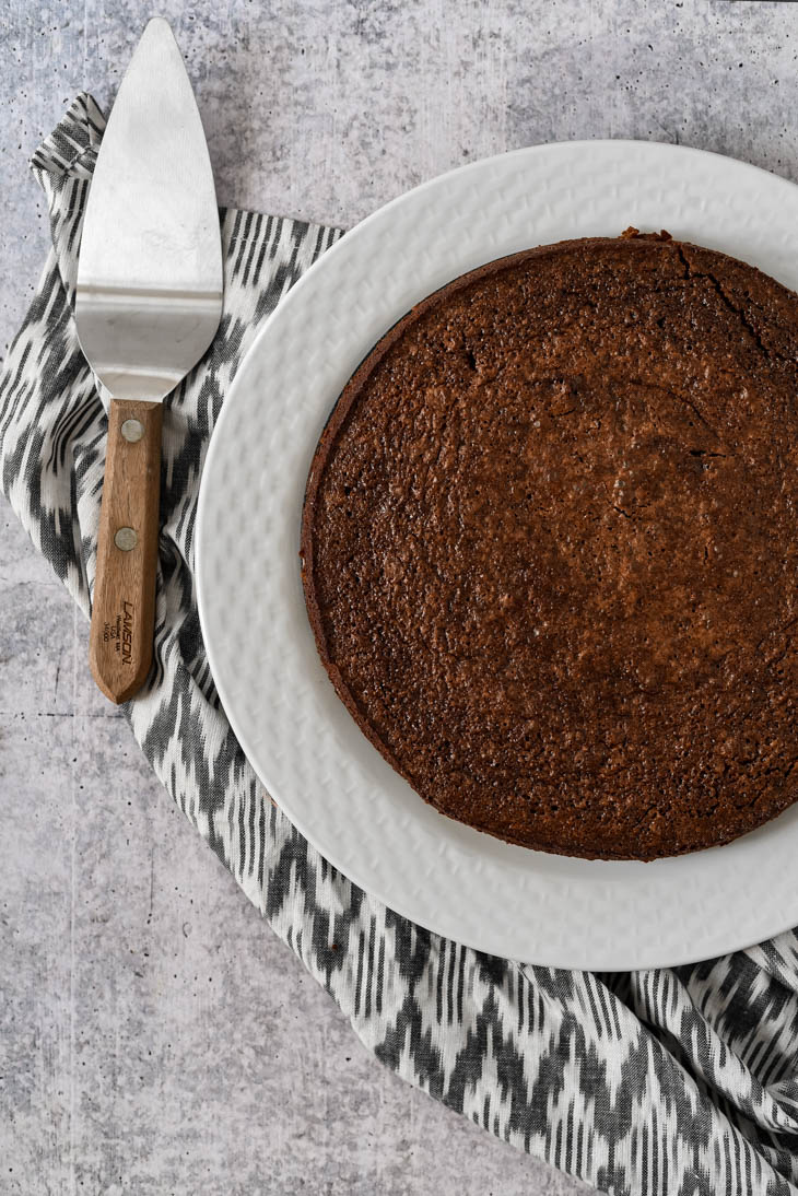 freshly baked swedish chocolate cake with napkin
