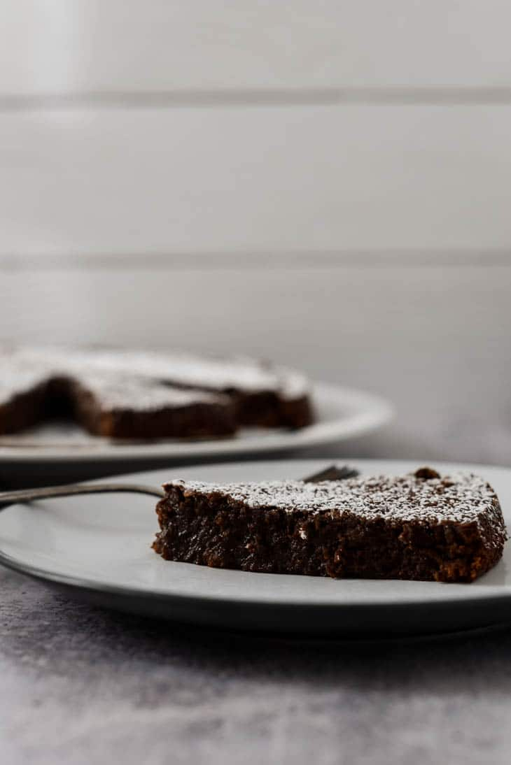 swedish chocolate sticky cake on white plate