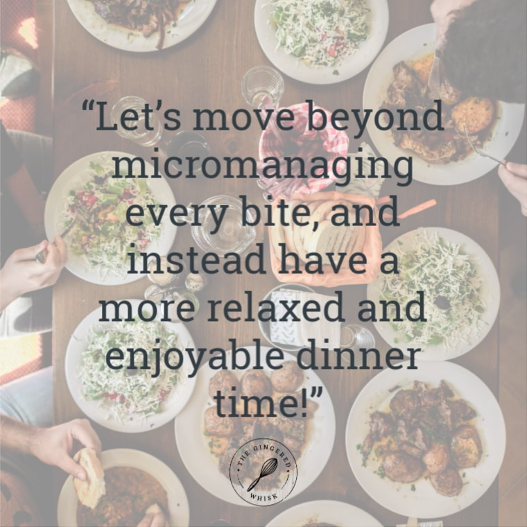 """image of table with lots of plates and text that reads \""""lets move beyond micromanaging every its and instead have a more relaxed and enjoyable dinner time\"""". - The Gingered Whisk"""