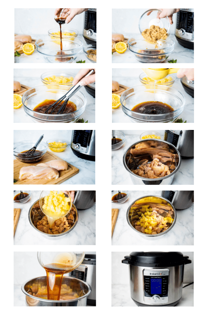 collage showing how to make instant pot pineapple chicken