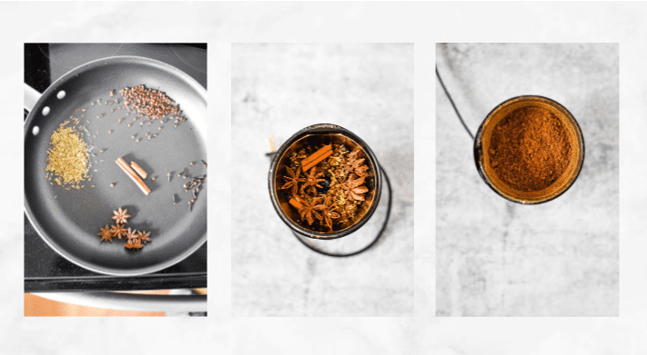 collage showing steps to make homemade chinese five spice