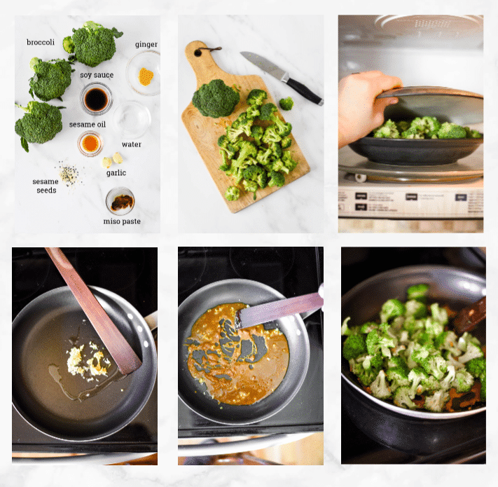 collage showing steps to make chinese broccoli recipe