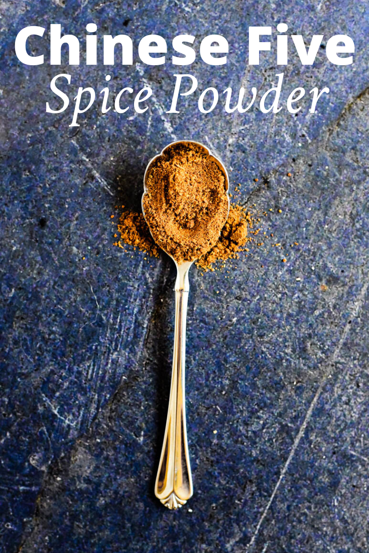 spoon with chinese five spice on it and text overlay that reads