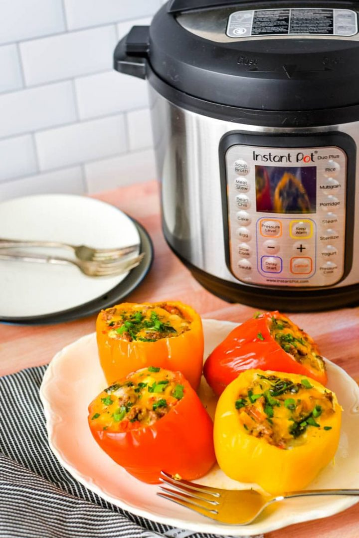 stuffed peppers in front of instant pot