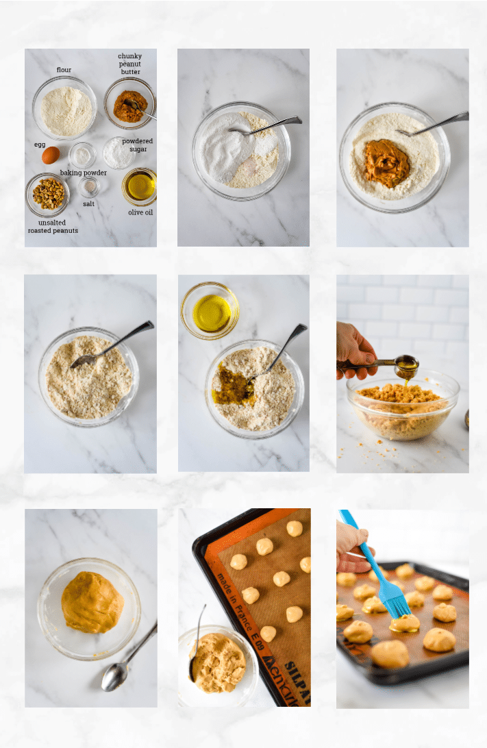 collage showing steps to make Chinese peanut cookies