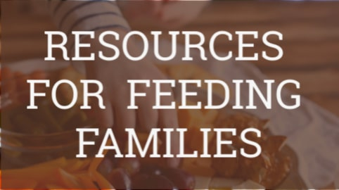 "graphic box that reads ""resources for feeding families"""
