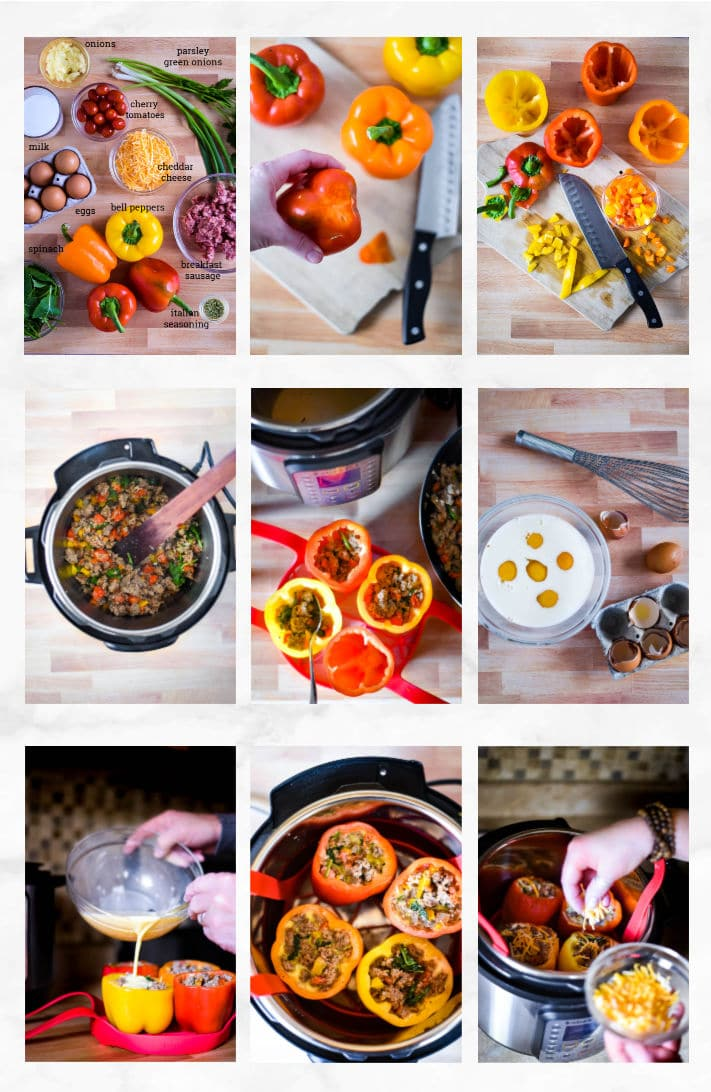 collage showing steps to make breakfast stuffed peppers