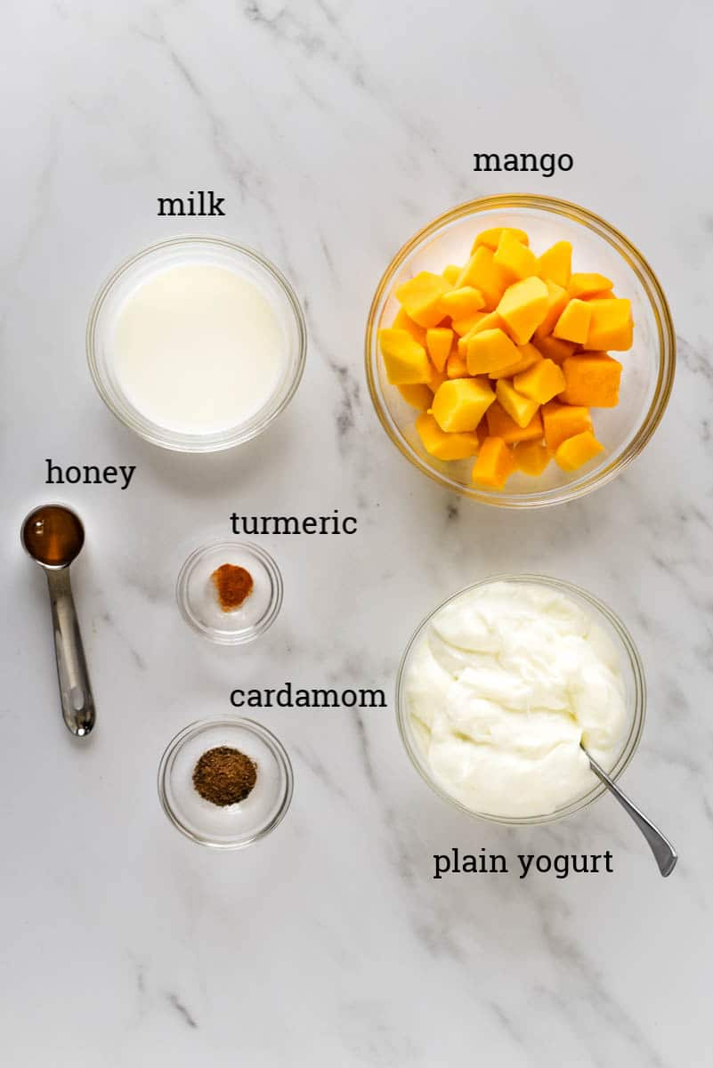 ingredients to make simple mango lassi