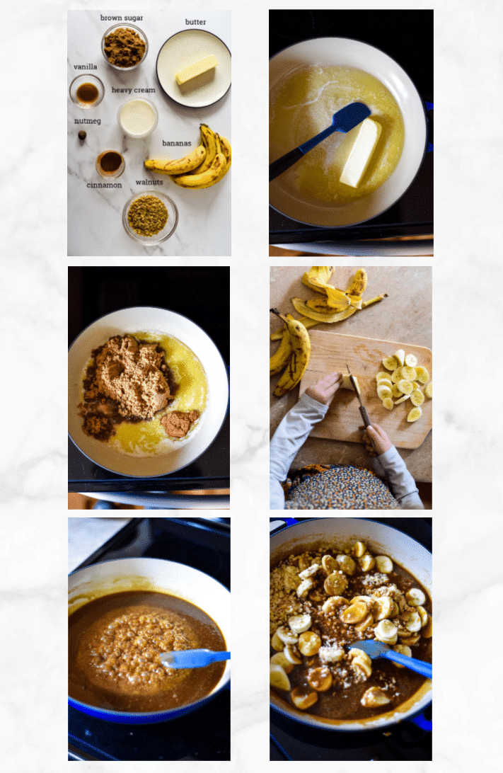 collage showing steps on how to make bananas foster