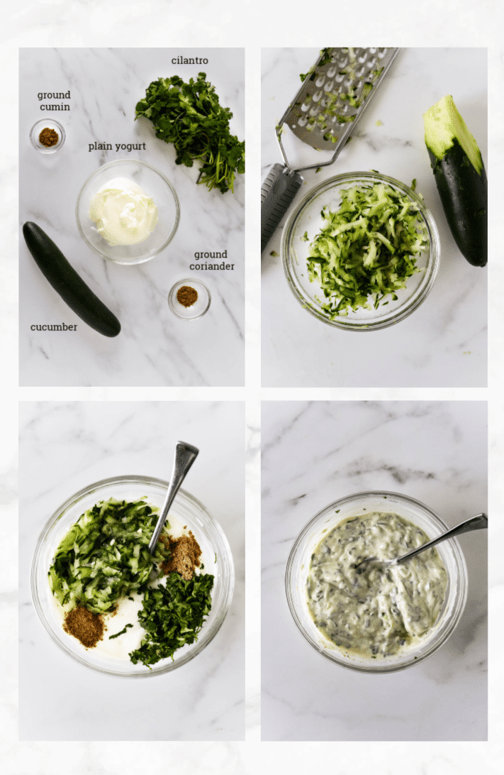 collage showing steps to make raita recipe