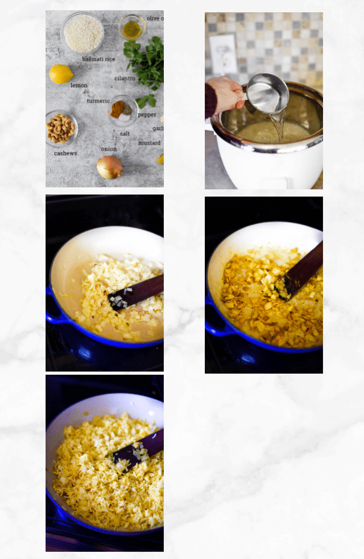 collage with steps for making lemon rice recipe