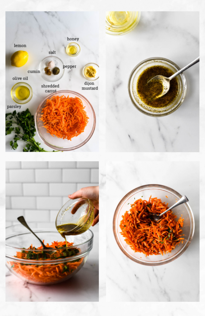 collage showing images of steps to make french carrot salad