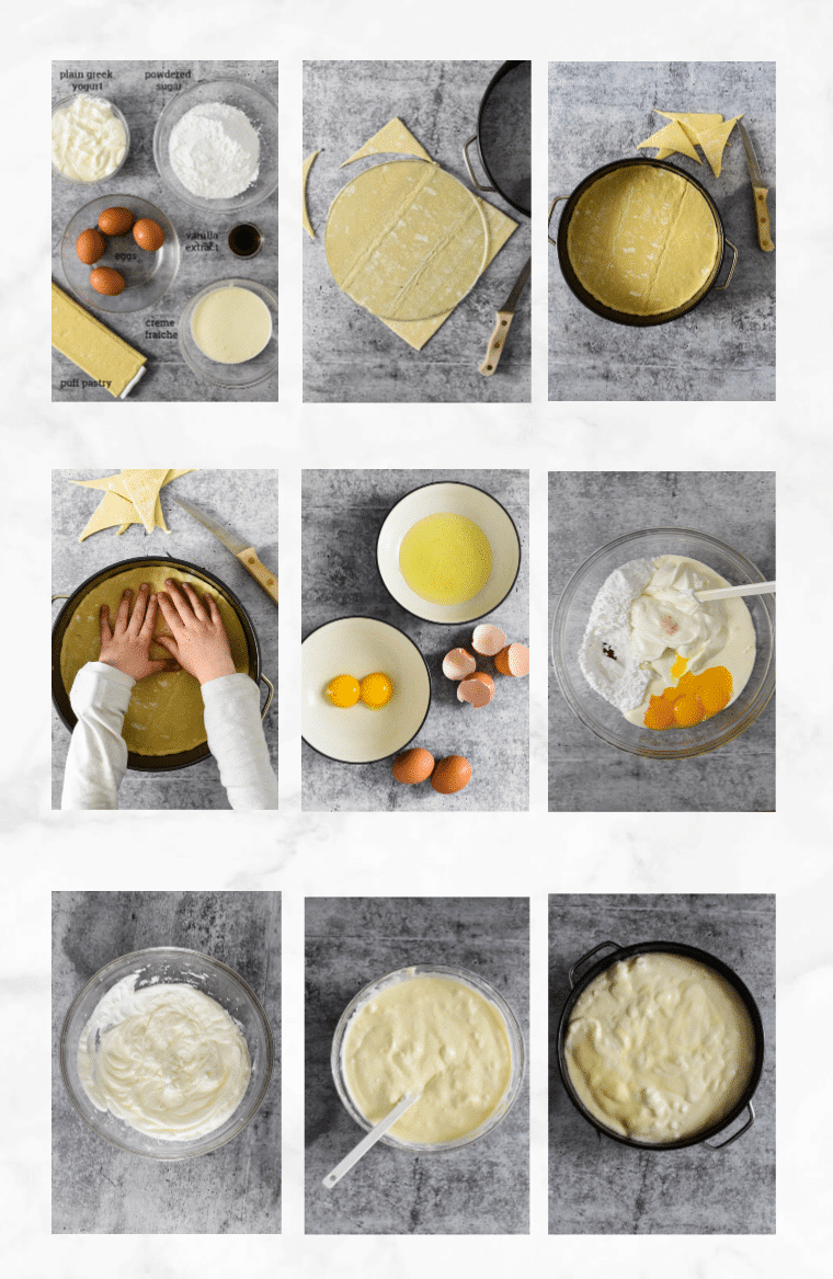 collage of images showing steps to make fromage blanc tart recipe
