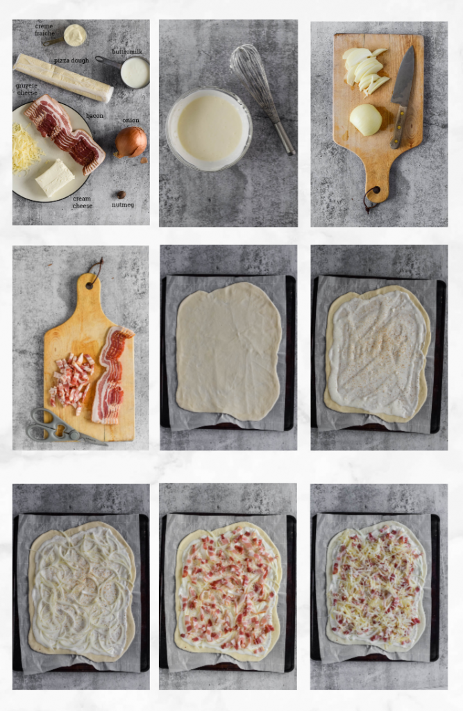 collage of images showing how to make french bacon and onion tart