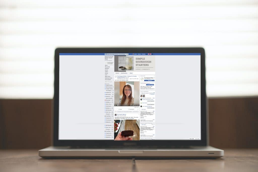 desktop computer showing Facebook page with sourdough group