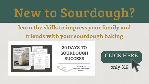 "graphic for sourdough course - reads ""new to sourdough? learn the skills to impress your family and friends with your sourdough baking. Click here""."