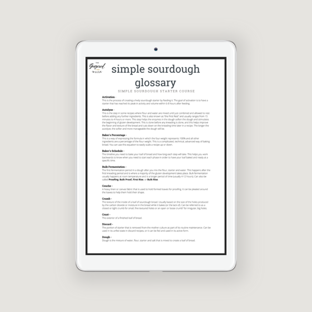image showing iPad showing sourdough glossary