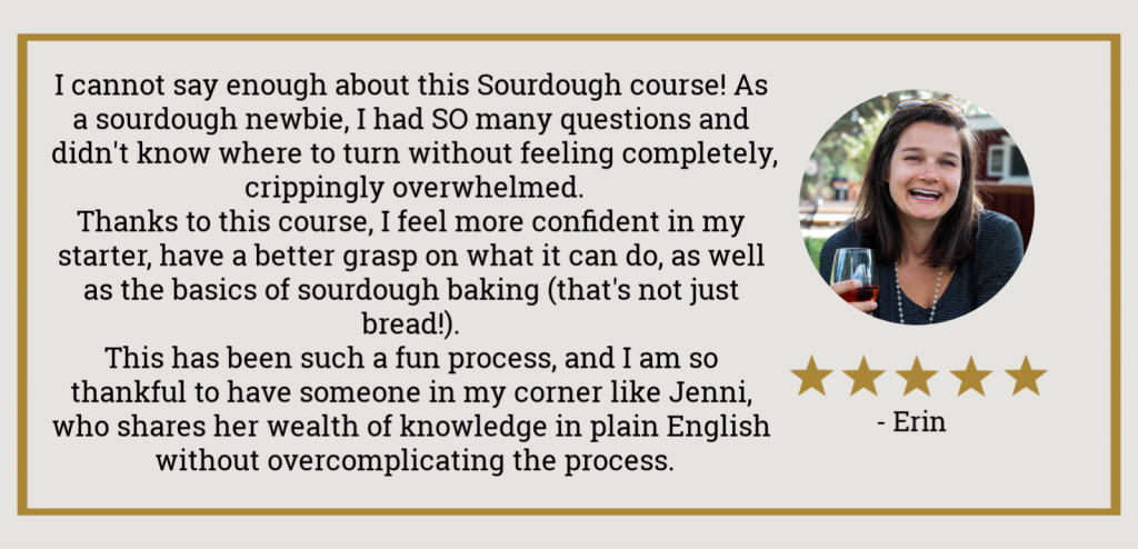 image showing sourdough course testimonial with photo of smiling girl and 5 stars