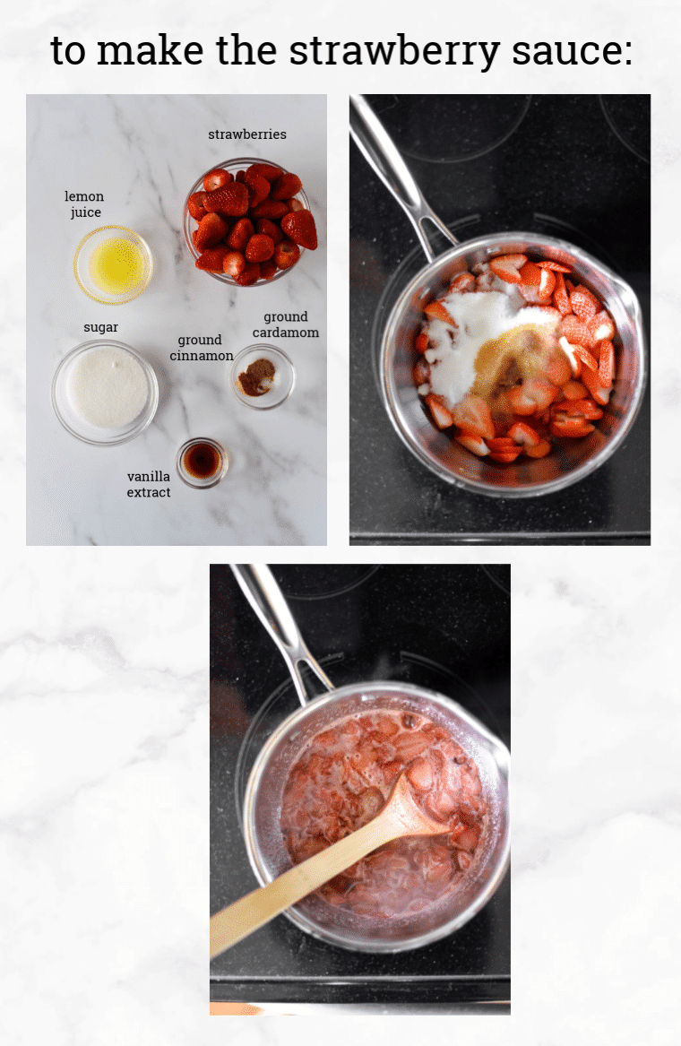 collage of images showing steps to make strawberry sauce