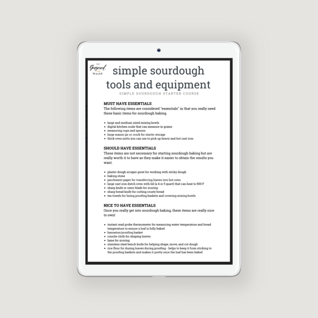iPad showing list of tools and equipment needed for sourdough baking