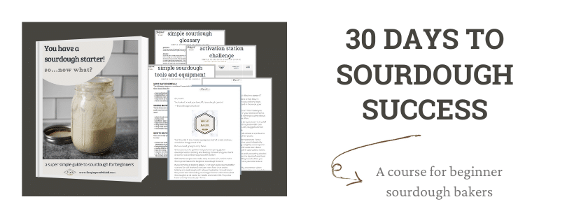 "image of course materials with text that reads"" 30 days to sourdough success, a course for beginner sourdough bakers""."