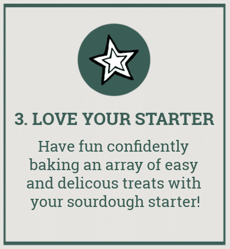 "grey graphic box with green border and star image. Has text overlay that reads ""3. Love your starter. have fun confidently baking an array of easy and delicious treats with your sourdough starter\"""