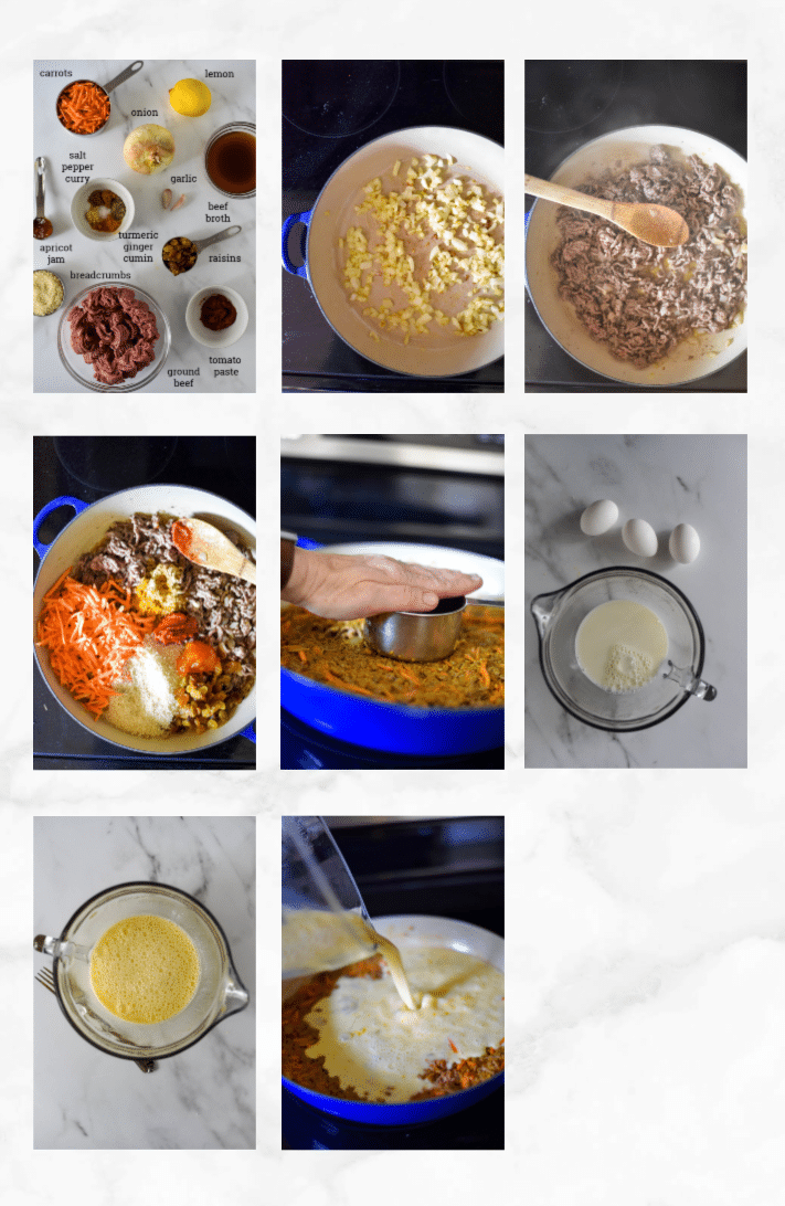collage of images showing steps to make bootie - cooking ground beef, mixing batter, baking