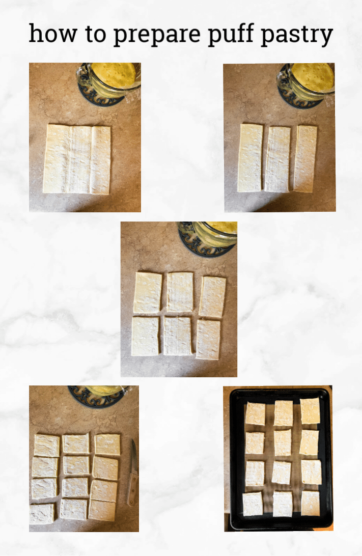 collage showing steps to prepare puff pastry