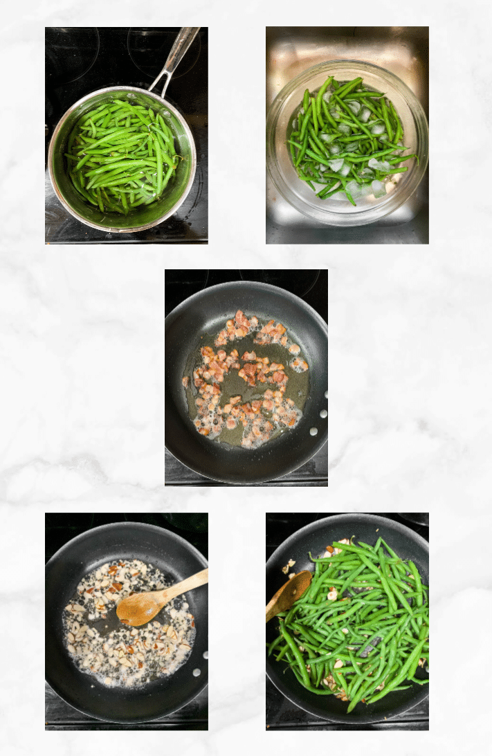 collage showing steps to make green bean almondine recipe