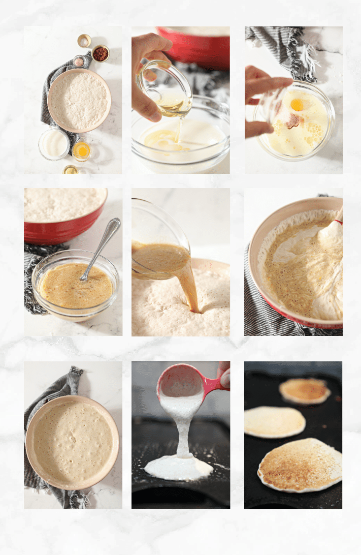 collage of images showing how to make sourdough pancakes