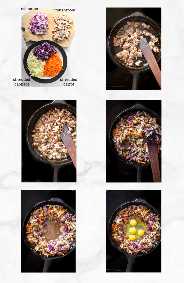 collage showing steps to make egg roll in a bowl in skillet