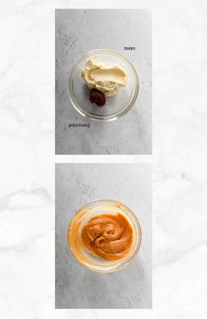 collage showing steps to make spicy mayo with gojuchang