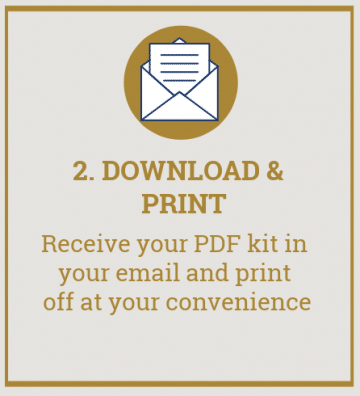 "Picture of envelope with text overlay reading ""2. Download and print. Receive your PDF kit in your email and print off at your convenience\""."