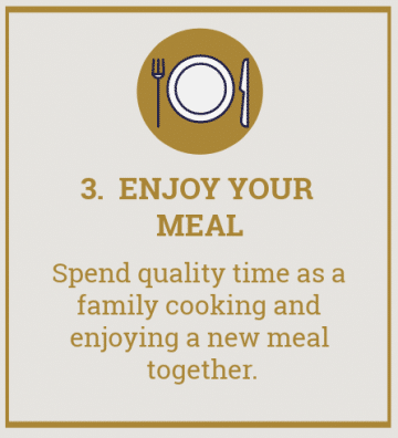"""picture of plate with text overlay reading \""""3. enjoy your meal. Spend quality time as a family cooking and enjoying a new meal together\""""."""