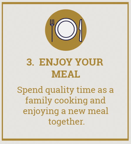 "picture of plate with text overlay reading ""3. enjoy your meal. Spend quality time as a family cooking and enjoying a new meal together""."