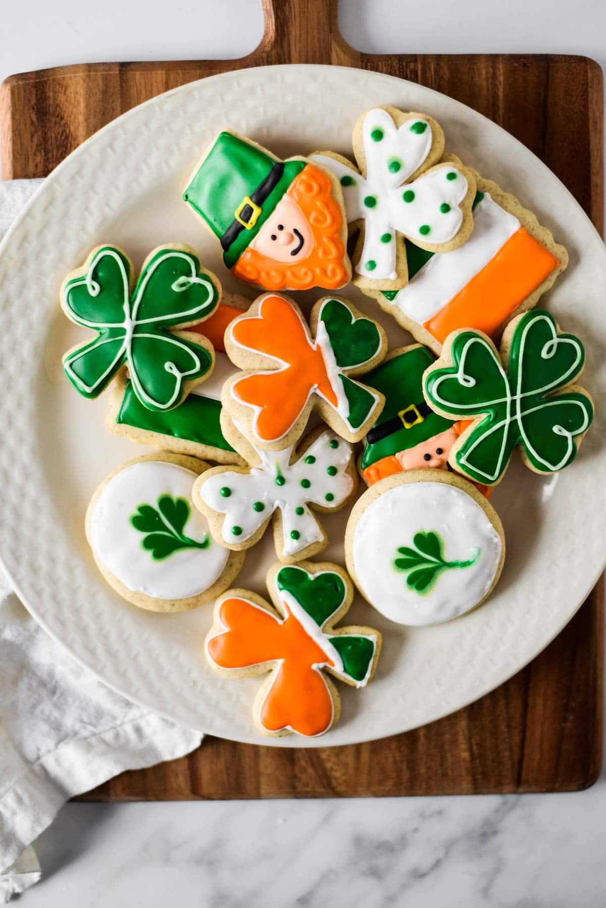 cut out cookies made with sourdough starter decorated for St Patricks Day