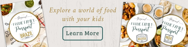 "graphic image with images of foodie family passport kits and the words ""explore a world of food with your kids"" and a button that says ""learn more"""